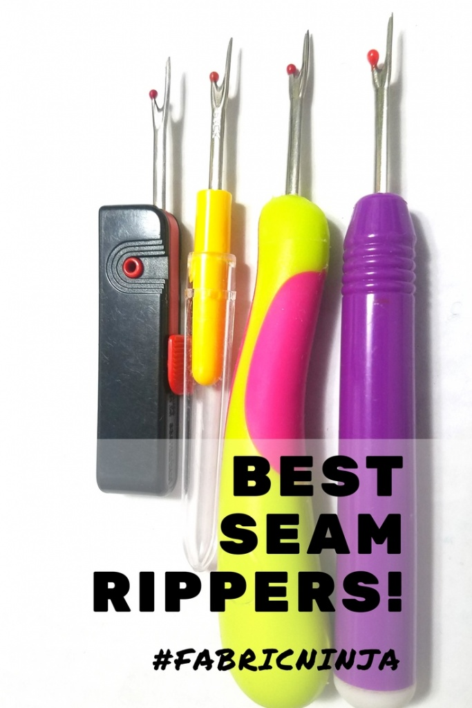 Best Seam Rippers! Four different looking colorful seam rippers lined up.