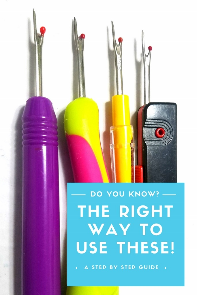The right way to use a seam ripper. Four different looking colorful seam rippers lined up.