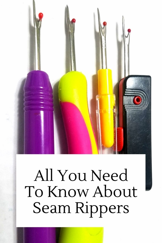All you need to know about seam rippers. 4 different looking colorful seam rippers lined up.
